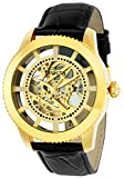 Invicta Men's 'Vintage' Automatic Stainless Steel and Leather Casual Watch, Color:Black/Gold (Model:...