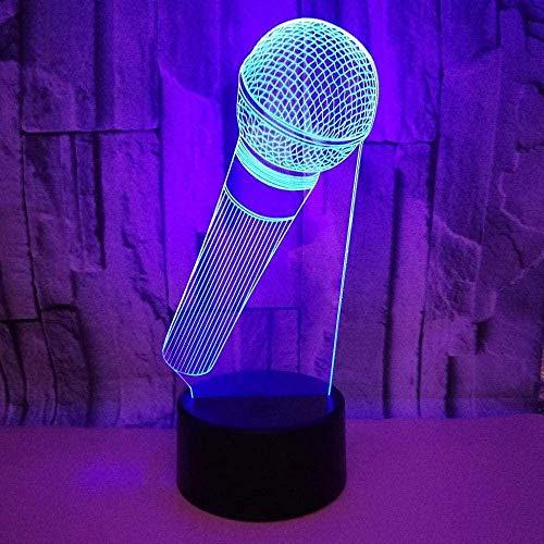 LED 3D Luz de noche Modelo de micrófono animación 7 colores Cambio de mesa Lámpara de mesa Decoración del hogar para cumpleaños de niños o regalos de vacaciones-16 color remote control