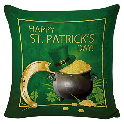 Dosoop Happy St Patrick's Day Saying Shamrock Throw Pillow Cover, 18 x 18 Inch Watercolor Rainbow Lucky Clover Cushion Case for Home Office Sofa Couch Car Festival Decor Gift