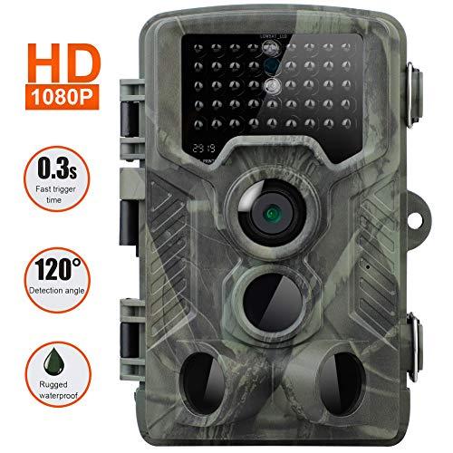 Famyfamy Wildkamera 16 MP 1080P HD Trail Game Kamera Jagd Spielkamera mit Infrarot Nachtsicht Trail Überwachung IP66 Wasserdicht Design für Wildlife Jagd und Haussicherheit, siehe abbildung