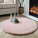 Ashler Ultra Soft Faux Rabbit Fur Chair Couch Cover Area Rug for Bedroom Floor Sofa Living Room Pink Round 3 x 3 Feet