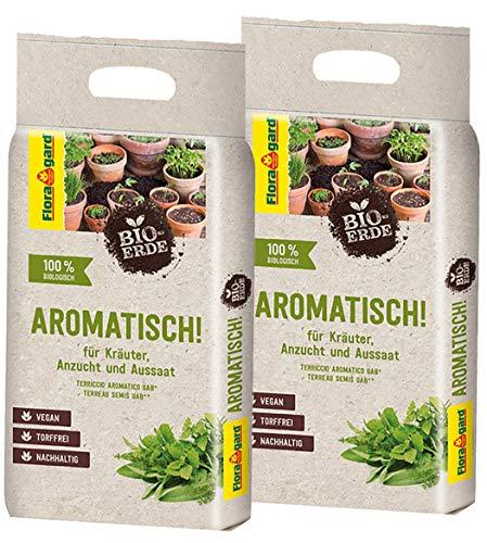 Floragard Bio-Erde Aromatisch 2x3 Liter - für Anzucht und Aussaat sowie für Kräuter - torffrei und vegan