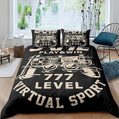 Rvvaceo Luxurious Duvet Cover Sets Quilt Cover Sets Bedding Sets With Pillowcases Microfiber Duvet Covers Set Soft Hypoallergenic, Easy Care-Single (135 X 200 Cm) Video Game Retro Game Controller