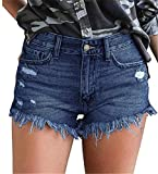 onlypuff Plus Size Denim Distressed Jean Shorts for Women Elastic Waist Casual Shorts Dark Blue XXL