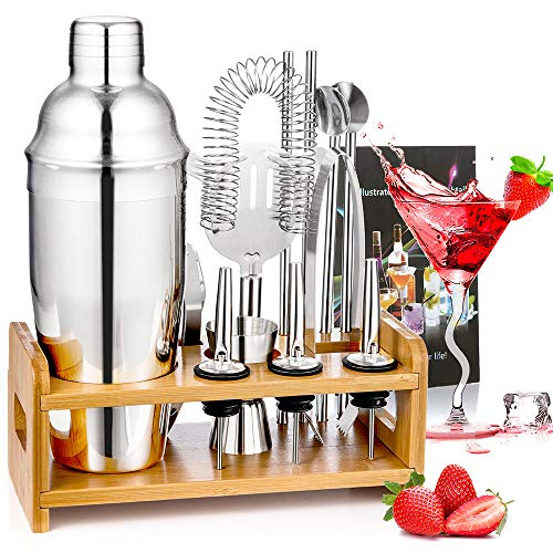 Diealles Shine Cocktail Shaker Set, 13 Pezzi Set Cocktail Professionale Completo con Supporto, Kit da Barman in Acciaio Inox 750 ml per Bar Drink Margarita Manhattan