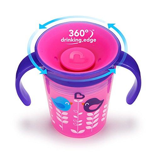 Munchkin Miracle 360ᵒ Deko-Trinklernbecher mit Griffen, rosa mit Vogelmotiv, 177 ml - 2