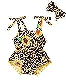 Fiomva Newborn Infant Baby Girl Leopard Sunflower Romper Jumpsuit Bodysuit with Headband Summer Outfits Clothes (Leopard Tassle Sunflower Strap Romper, 9-12Months)