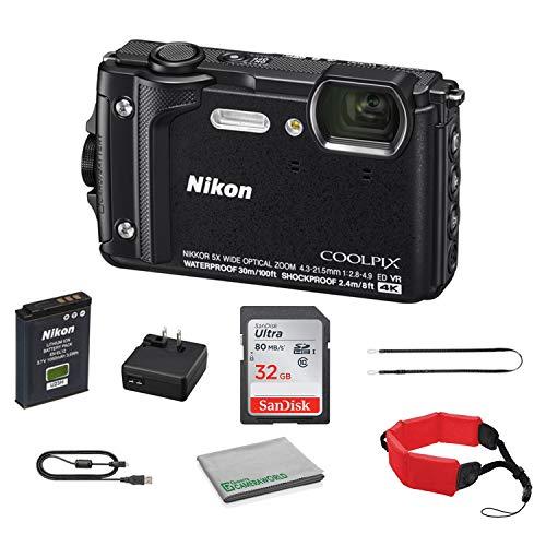 Nikon COOLPIX W300 Rugged Waterproof Underwater Digital Camera Bundle with 32GB Memory Card + Floating Strap + More (Black) 26523