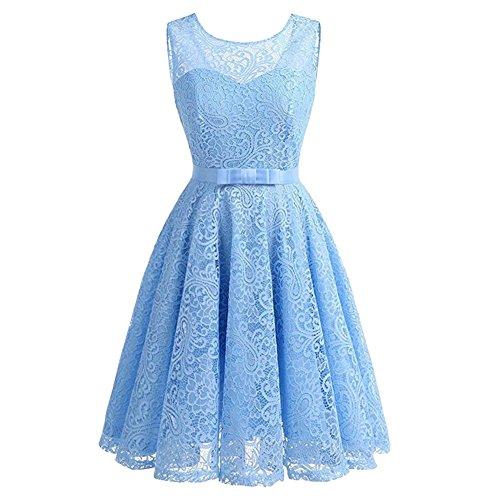 iShine Rockabilly Kleid Damen rmellos Brautjungfernkleid mit Spitzen festliche Kleider Cocktailkleid...