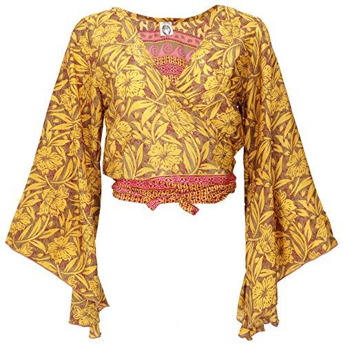 Guru-Shop, Korte Top, Boho-blousetop, Wikkeltop, Wikkelblouse met Trompetmouwen, Kurkuma, Synthetisch, Size:38, Blouses Tunieken