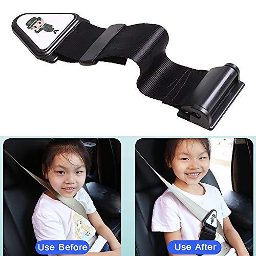 Seat Belt Adjuster for Kids,Comfort Universal Auto Shoulder Neck Strap Positioner, Anti-Strangulation Neck Seat Belt Locking Clips