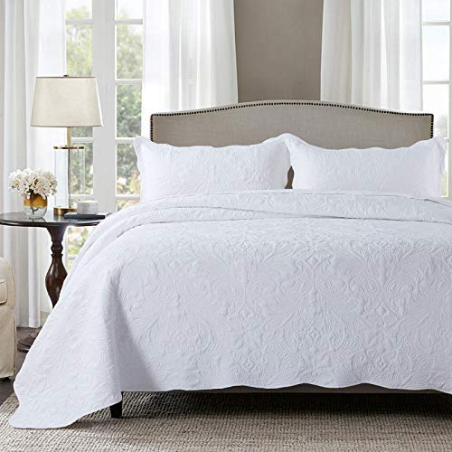 HoneiLife Quilt Set Queen Size - 3 Piece Embroidered Microfiber Bedspread Reversible Coverlet Lightweight Bedcover Paisley Pattern Bedding Set All Season Quilts-White