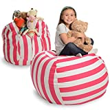 Creative QT Stuffed Animal Storage Bean Bag Chair - Extra Large Stuff 'n Sit Organization for Kids Toy Storage - Available in a Variety of Sizes and Colors (38', Pink Stripe)