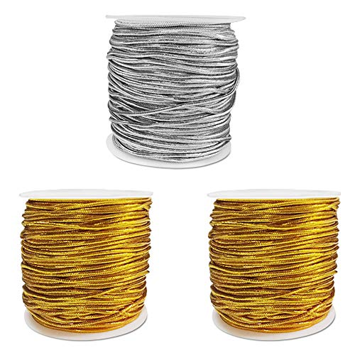 3 Rolls Metallic Elastic Cords Tinsel,maxin Metallic Elastic Cords Stretch Cord Ribbon Metallic Tinsel Cord Rope for Craft Making Gift Wrapping,1 mm 82Yards(2 Gold and 1 Silver)