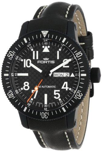 Fortis 647.28.71 L.01 B-42 Marinemaster Herren-Armbanduhr, automatisch, Leder, Schwarz