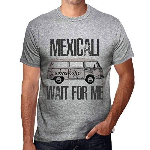 One in the City Hombre Camiseta Vintage T-Shirt Gráfico Mexicali Wait For Me Gris Moteado