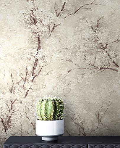 NEWROOM Tapete Beige Vliestapete Leicht Glänzend - Blumentapete Floral Weiß Schwarz Baum Blätter Mustertapete Modern Natur inkl. Tapezier-Ratgeber
