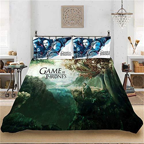 CCBZLY - Set di biancheria da letto con stampa digitale 3D, motivo: Game of Thrones, in fibra di poliestere, con copripiumino e federa, per ragazzi e ragazze, misura M 2,200 x 200 cm + 2 x 50 x 75 cm