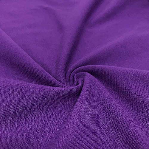 FabricLA Cotton Spandex Jersey Fabric 12 oz - Solid Colors (1 Yard, Purple)
