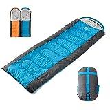 Saco de dormir 75x220cm 1,5 kg para 3 estaciones Saco de dormir de sobre impermeable con doble cremallera Bolsa de compresión, cremallera doble, Camping Viajes al aire libre Azul Cremallera derecha