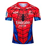 MGRH 2019 Lions Hero Édition Rugby Jersey, Spiderman Shirt Fan de Football Respirant à Manches Courtes Sport Top Shirt Polo Confortable, d'anniversaire S