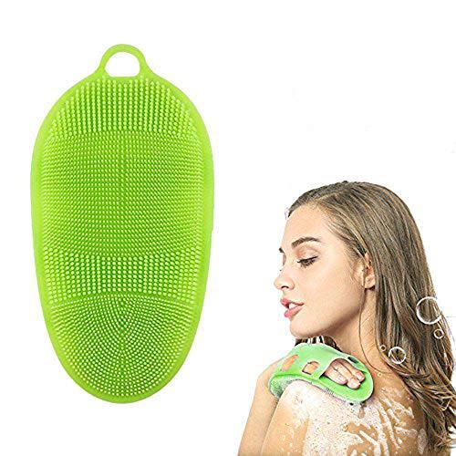 AOLVO Spazzola per il corpo in morbido silicone, guanto esfoliante per la pelle, per massaggi termali, 100% puro silicone, per la doccia o la vasca da bagno Verde