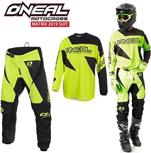 Motocross-Anzug Oneal Matrix 2019 Erwachsene Motorradanzug Hose Jersey Off-Road Sportkleidung MX Quad Track Anzug, Zweiteilige Kombinationen, Hi Viz Gelb (HI Viz Gelb,S-30)