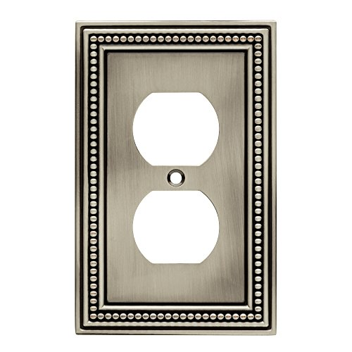 Brainerd 64776 Beaded Single Duplex Outlet Wall Plate, Brushed Satin Pewter