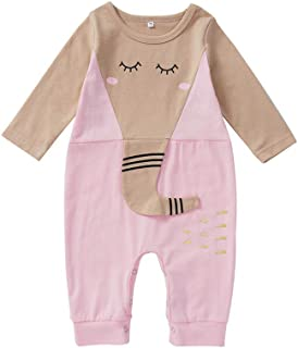 Xifamniy Newborn Baby Long Sleeve Romper Cute Elephant Style Cotton Bodysuit