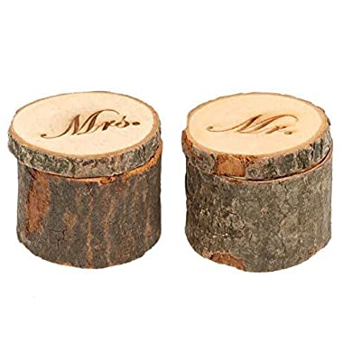 CHUANGLI 2pcs Ring Box Rustic Style Wooden Wedding Ring Case Weddings Accessories Mr Mrs Jewelry Boxes