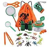 COSORO Kinder Fernglas 18 Stück Kids Adventurer Outdoor Explorer Set mit Bug Catcher Pinzette Insect Viewer Kompass Lupe & Schmetterlingsnetz für Camping