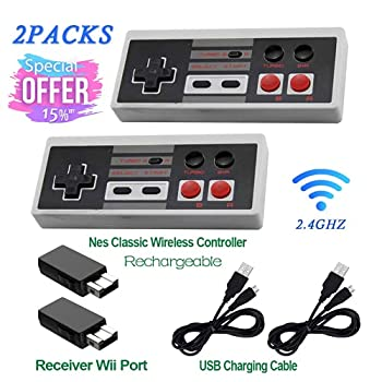 2 Pack Rechargeable NES Classic Mini Wireless Controller -TURBO/HOME EDITION-Rapid Buttons Edition for Nes Wii Gaming System with 2.4G Wireless Receiver 2020 Upgraded