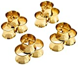 SKAVIJ Serviettenring-Set 12 Stück Metall Solide Gehämmert Handgemacht Weihnachten Dekoration für Esstisch (Gold)