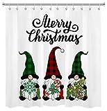Lustige Weihnachtszwerge Duschvorhang Büffel Check Karierter Hut Elf Weihnachtsbaum Stöcke Schneeflocke Duschvorhänge für Badezimmerdekoration Set mit Haken 72x72 Zoll wasserdichtes Polyestergewebe