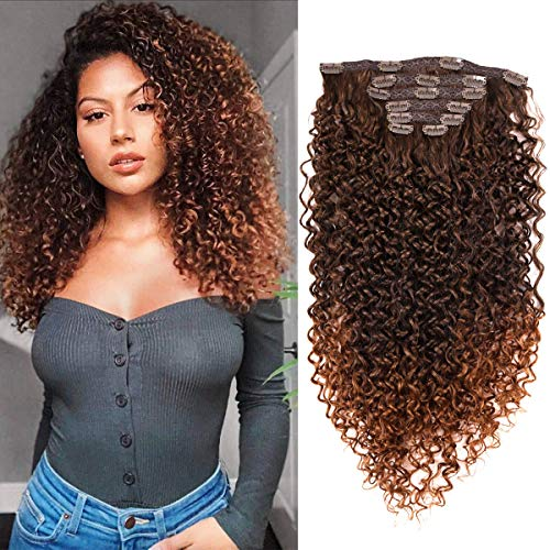 BHF 24 inch Kinky Curly Clip In Hair Extension, 140g Double Weft Full Head Heat Resistance Synthetic Hair Extension For Women 7pieces (#MT4-30)