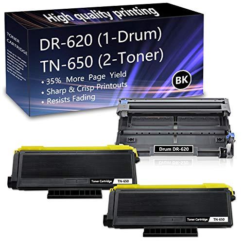3 Pack (1Drum+2Toner) DR620 Drum Unit TN650 Toner Replacement for Brother HL-5240 5250DN 5270DN 5370DW 5380DN 5280DW MFC-8370 8460N 8690DN 8480DN 8680DN 8690DN 8890DW DCP-8060 8080DN 8085DN Printers.