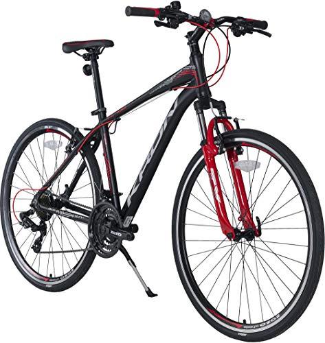 KRON TX-100 Aluminium Mountainbike 28 Zoll | 21 Gang Shimano Kettenschaltung mit V-Bremse | 18 Zoll Rahmen MTB Erwachsenen- und Jugendfahrrad | Schwarz Rot