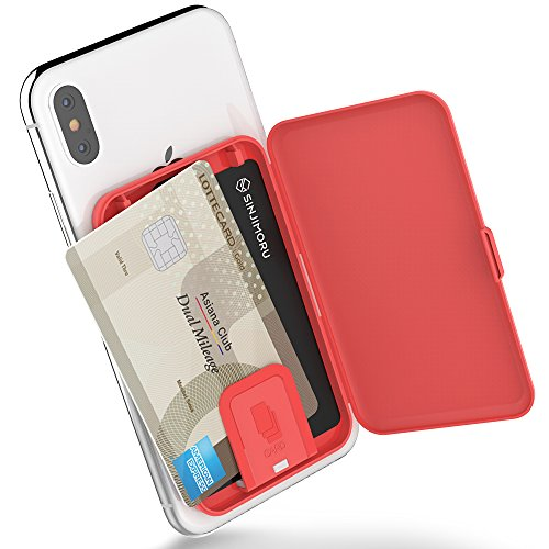 Sinjimoru Stick-On - Funda para Tarjetas Adhesivas/Tarjetero Ultrafino, utilizable como Cartera para teléfono o Tarjetero para Escritorio. Card-Zip, Rojo Coral