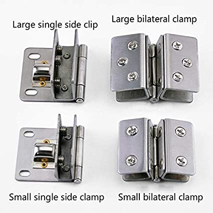 IBalody 1 Pcs Home Free Opening Stainless Steel Glass Furniture Hardware Hinge Glass Door Accessories Hinge Chain Wine Glass Door Hinge Door Accessories Tool Color : Small Single Clip
