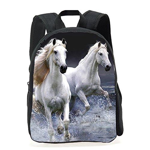 Voorschoolse rugzak, dieren kinderen schoolboekentas kinderen afdrukken rugzakken (Paard)