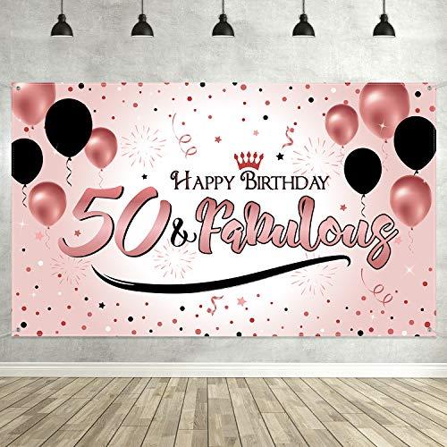 Blulu Decoración de Fiesta de 50 Cumpleaños, Póster de Señal de Tela Extra Grande para 50 Aniversario Fondo de Foto Pancarta de Fondo, Materiales de Fiesta de 50 Cumpleaños (Dorado Rosado)