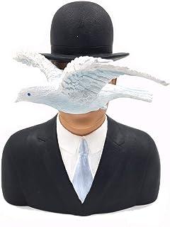#04 - Escultura, diseño de pintura El hombre con el sombrero hongo, 16 cm, réplica basada en ilustración de René Magritte