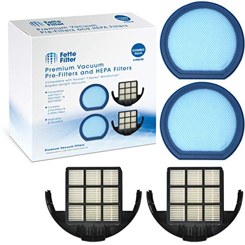 Fette Filter - Vacuum Filter Set Compatible with Hoover T-Series WindTunnel Bagless Upright - Compare to Part # 303173001 and 303172002 (2-Pack)