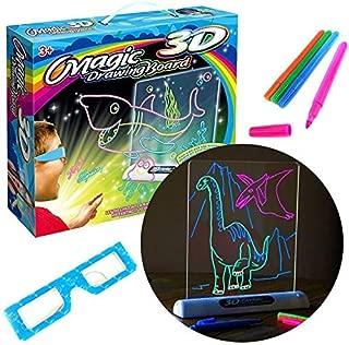 LAIZETONGXUN Tablero de Dibujo 3D mágico para niños Juguetes Niños Niñas, Gafas 3D de Pluma | 3D para Dibujar Magic World, Hacer Que la Foto salte del Papel, Kids Gift, 5 años o más