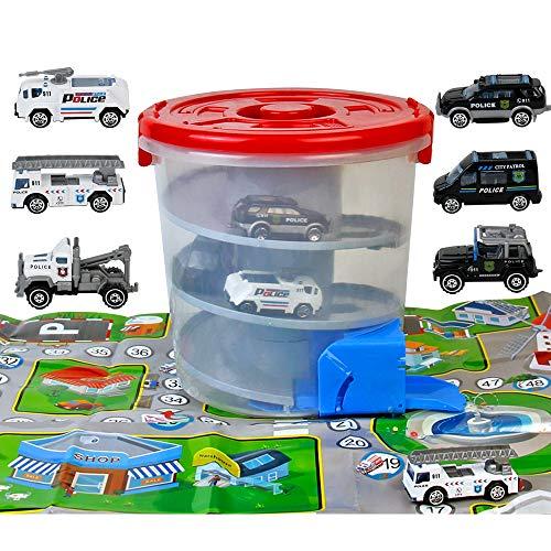 yoptote Garage Macchinine per Bambini con Pista da Corsa,Parcheggio con 6 Auto della Polizia e Carta Geografica Rampa Macchinine Giochi Bambini 3 4 5 + Anni