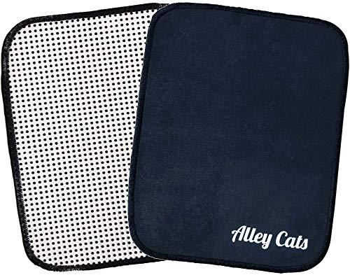 Alley Cats Bowling Bowlingball Shammy - Mikrofaser, mit EZ Grip Rückseite, Schwarz - Bester Wert rund - Premium Polier-/Reinigungstücher Pad