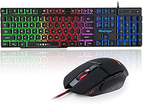 BlueFinger Gaming Keyboard and Mouse Combo, Rainbow LED Backlit 104 Keys Gaming Keyboard, USB Wired 4 Color Light Up Gaming Mouse Set for PC Computer Gaming and Work