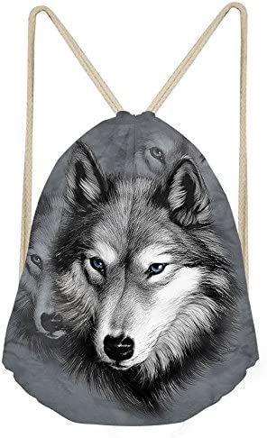 Showudesigns Cool Wolf Drawstring Sack Backpack for Men Women Outdoor Travel Storage product image