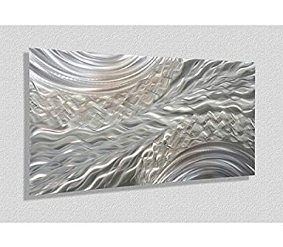 Statements2000 Abstract Etched 3D Metal Wall Hanging Panel Art Painting Sculpture by Jon Allen, Silver/Gold - Positive Energy from Statements2000