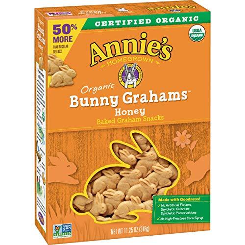 Annie's Organic Baked Bunny Grahams Snacks Honey, 11.25 oz Box